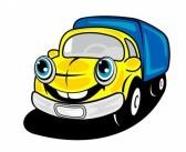 dessin humouristique d'véhicule de livraison dans service en plus